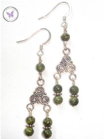 Russian Serpentine Celtic Chandelier Earrings